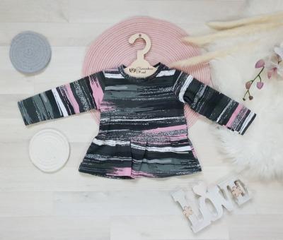 Sofortkauf Handmade Volantshirt rosa-grau glitzer Gr