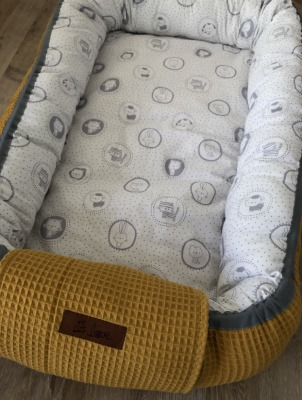 Bestellung Handmade Babynestchen Senf/graue Tiere Handmade