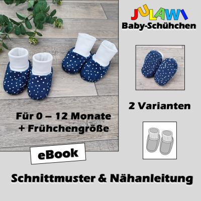Schnittmuster/Nähanleitung Baby-Schühchen Frühchen Babys bis Monate