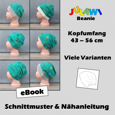 Schnittmuster/Nähanleitung Beanie KU 43-56 cm JULAWI