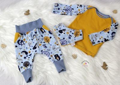 Sofortkauf Handmade Set Waldtiere blau/senf Gr
