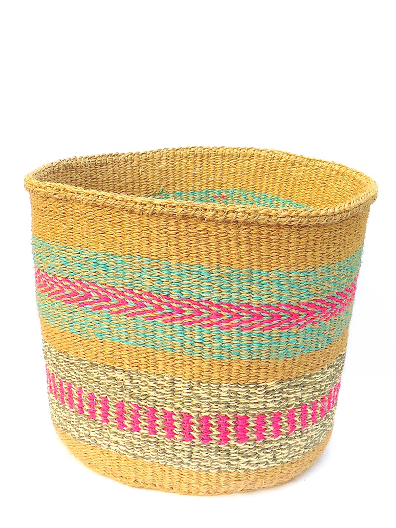 Storage Basket L Natur/Pink/Mint