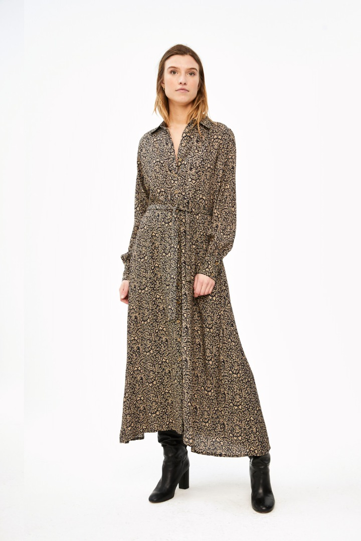 yara paisley dress - black