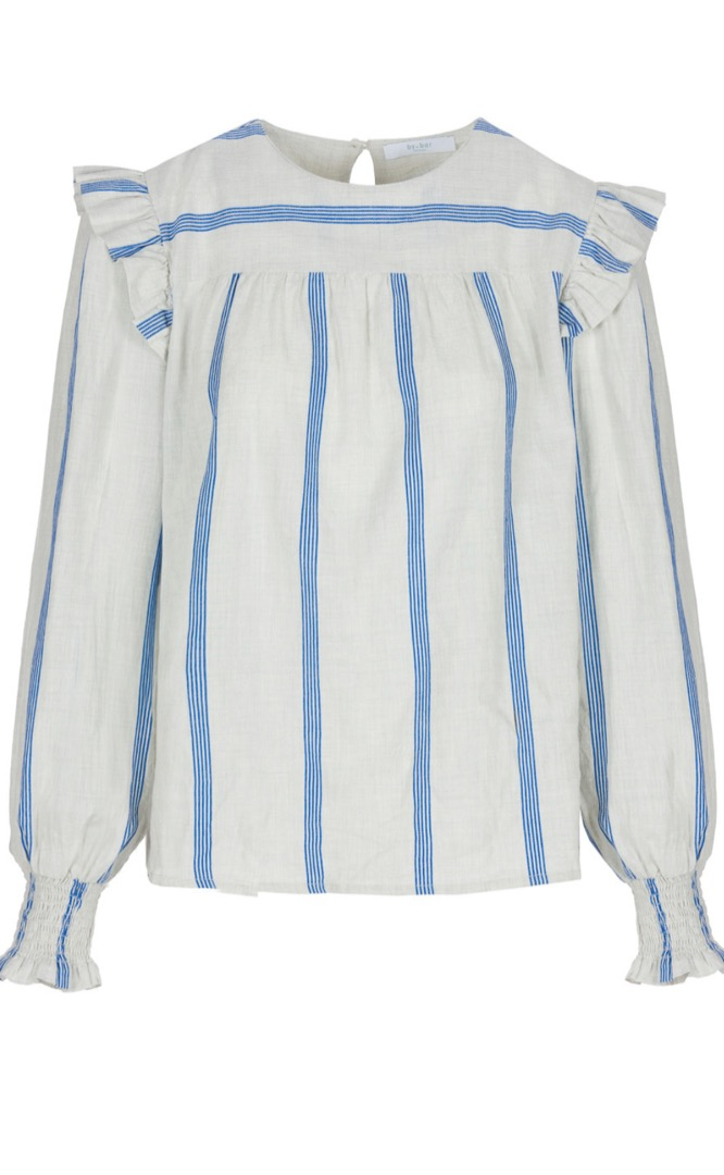 mila striped blouse - powder blue