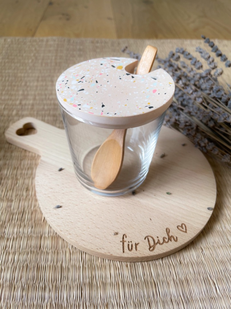 Zuckerglas mit Tarrazzo Deckel - skin