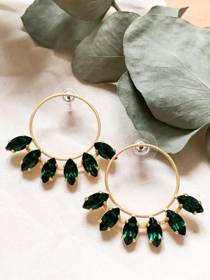 Goldene Statement Ohrringe grünen Swarovski Kristallen
