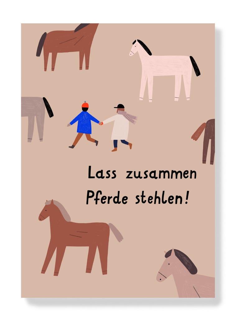 Postkarte - Lass zusammen Pferde