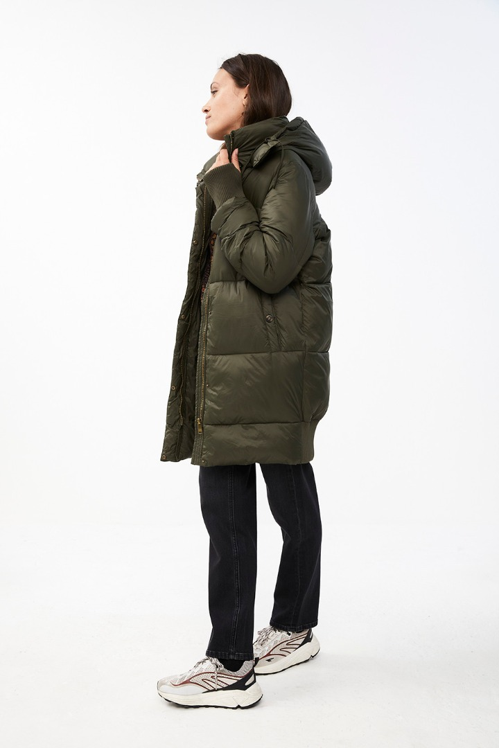 jackie long coat - forest night