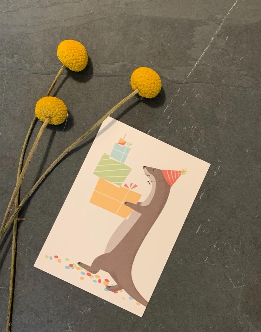 vierundfünfzig illustration - Postkarte - Konfetti