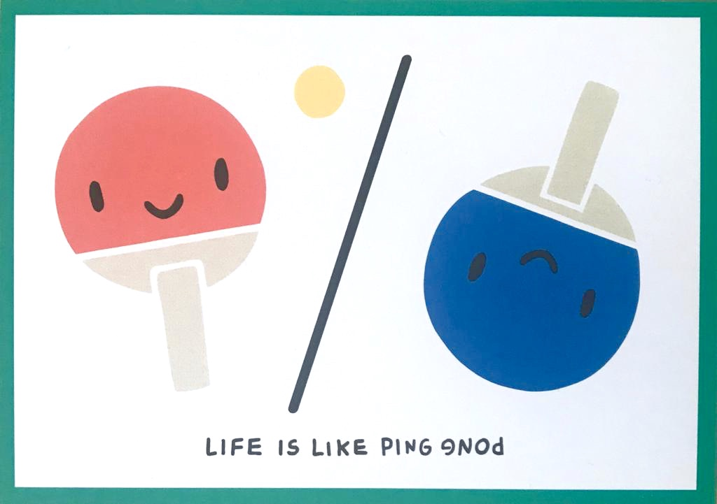 Postkarte Life is like Ping Pong