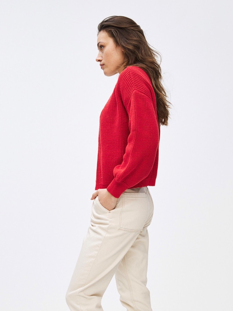 bar cotton cardigan - red 2