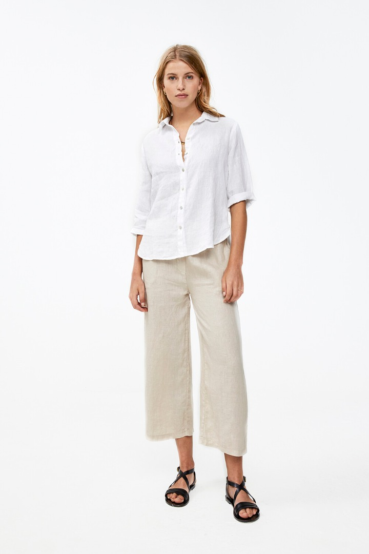 by-bar ines linen pant - sand