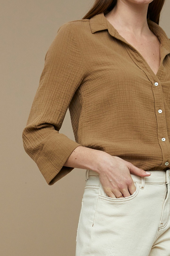 by-bar - zoe doppia blouse dry-khaki