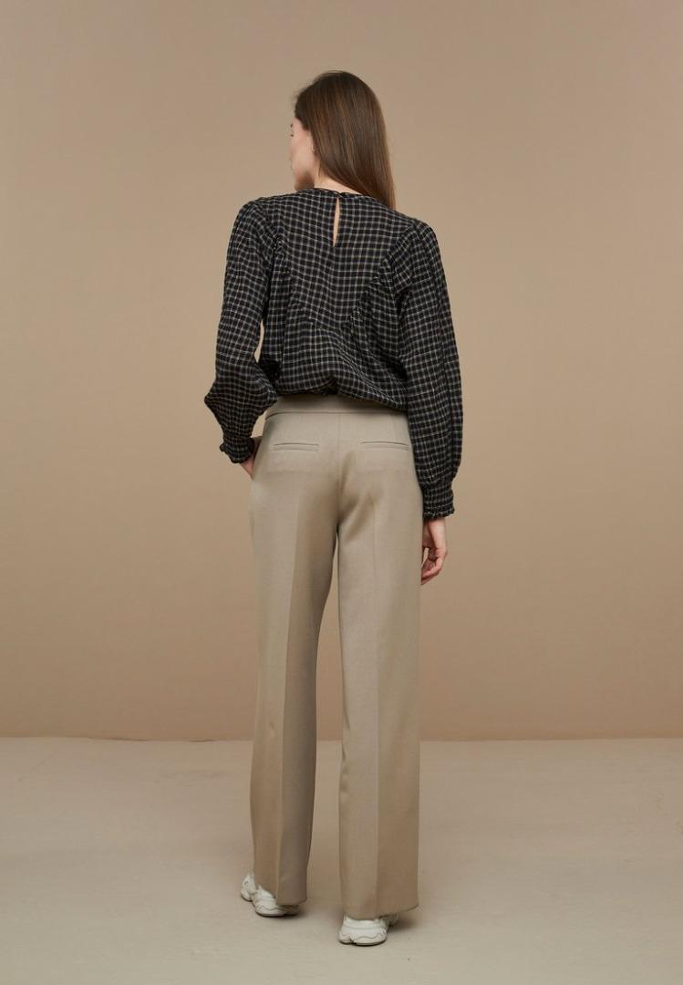 by-bar bobbie check blouse black check
