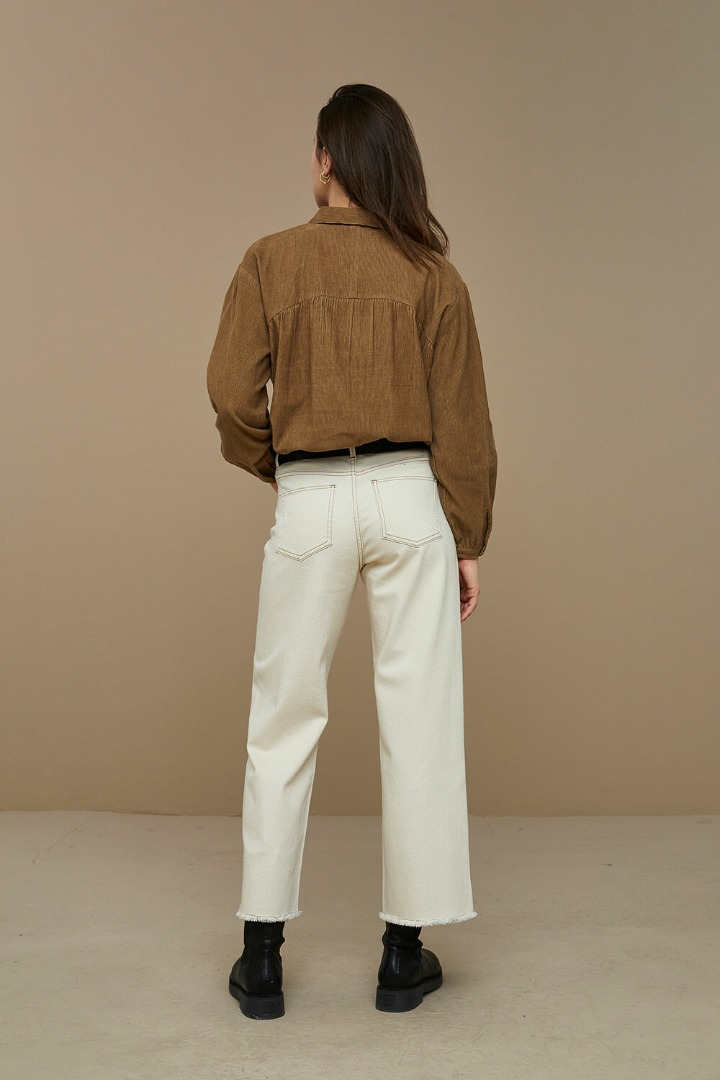 by-bar lola cord blouse dry khaki