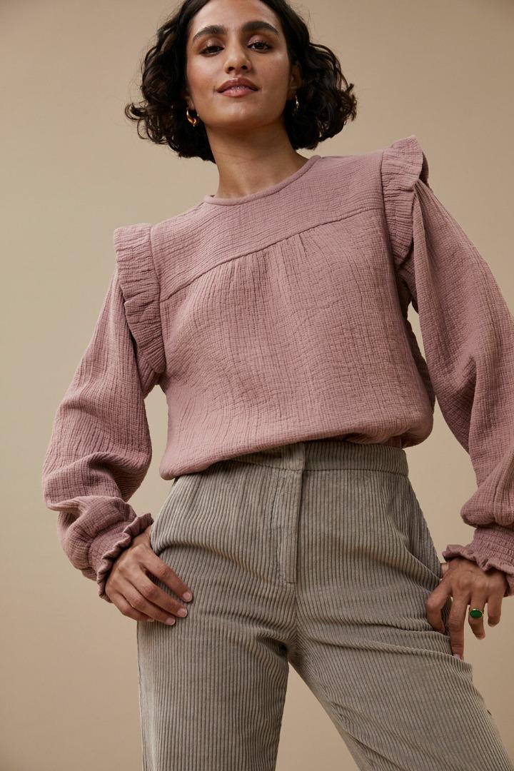 by-bar mila gauze blouse dusty lilac