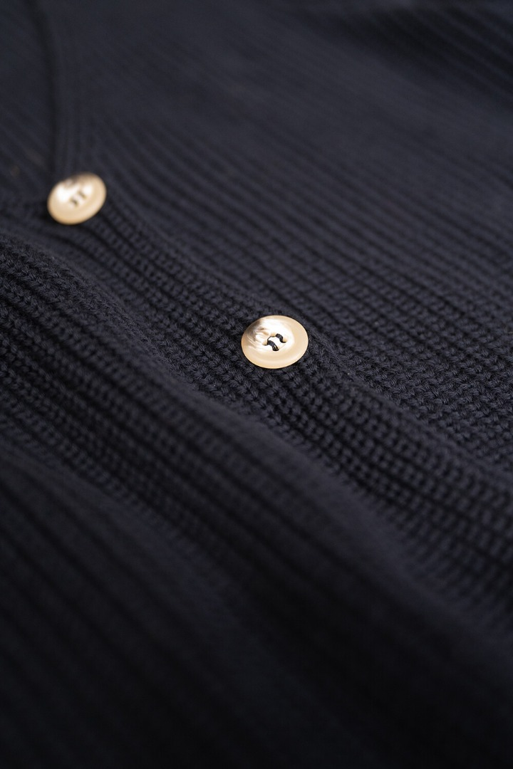 by-bar quinty cotton cardigan - midnight