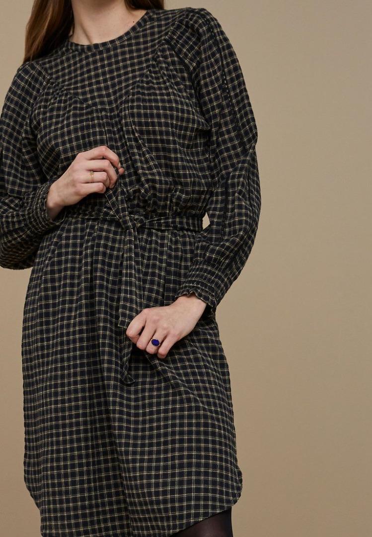by-bar bobbie check dress black check