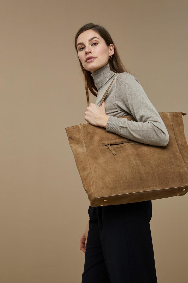 by-bar shopper suede bag dry khaki