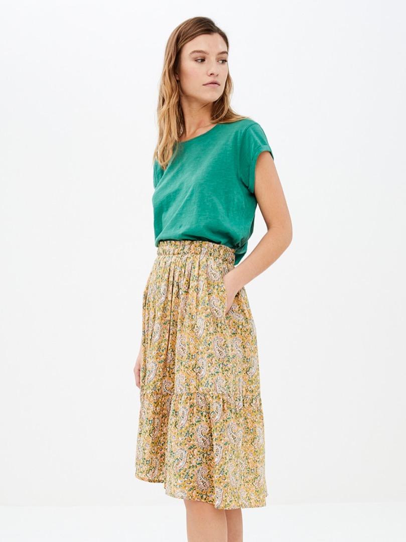 lien paisley skirt - straw
