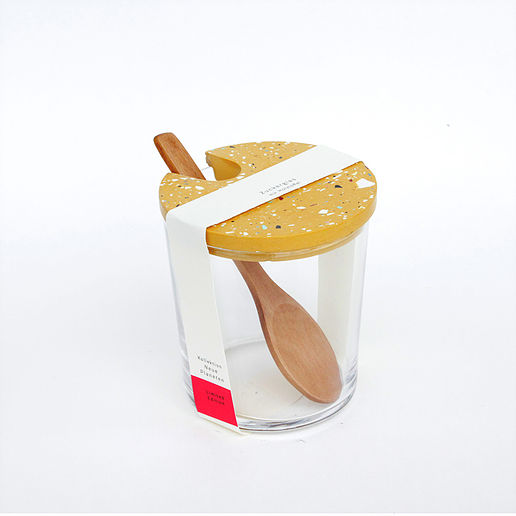 Zuckerglas mit Tarrazzo Deckel - ocker
