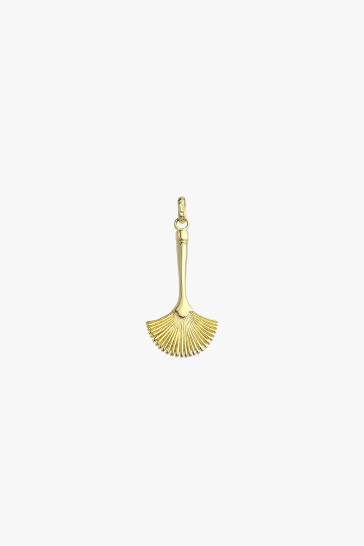 Fan brush pendant gold 2