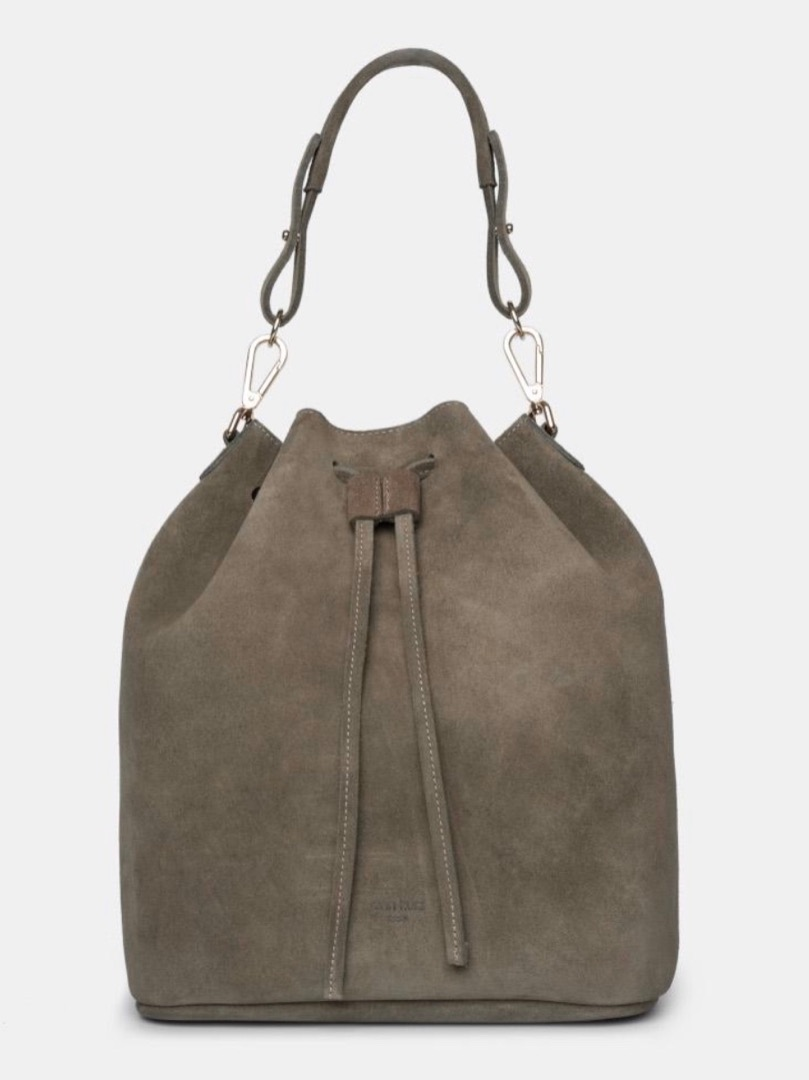 Saku Suede Olive Bucket Bag - 1