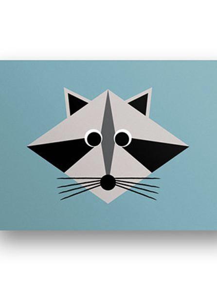 Postkarte Waschbär
