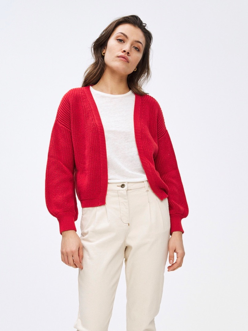 bar cotton cardigan - red