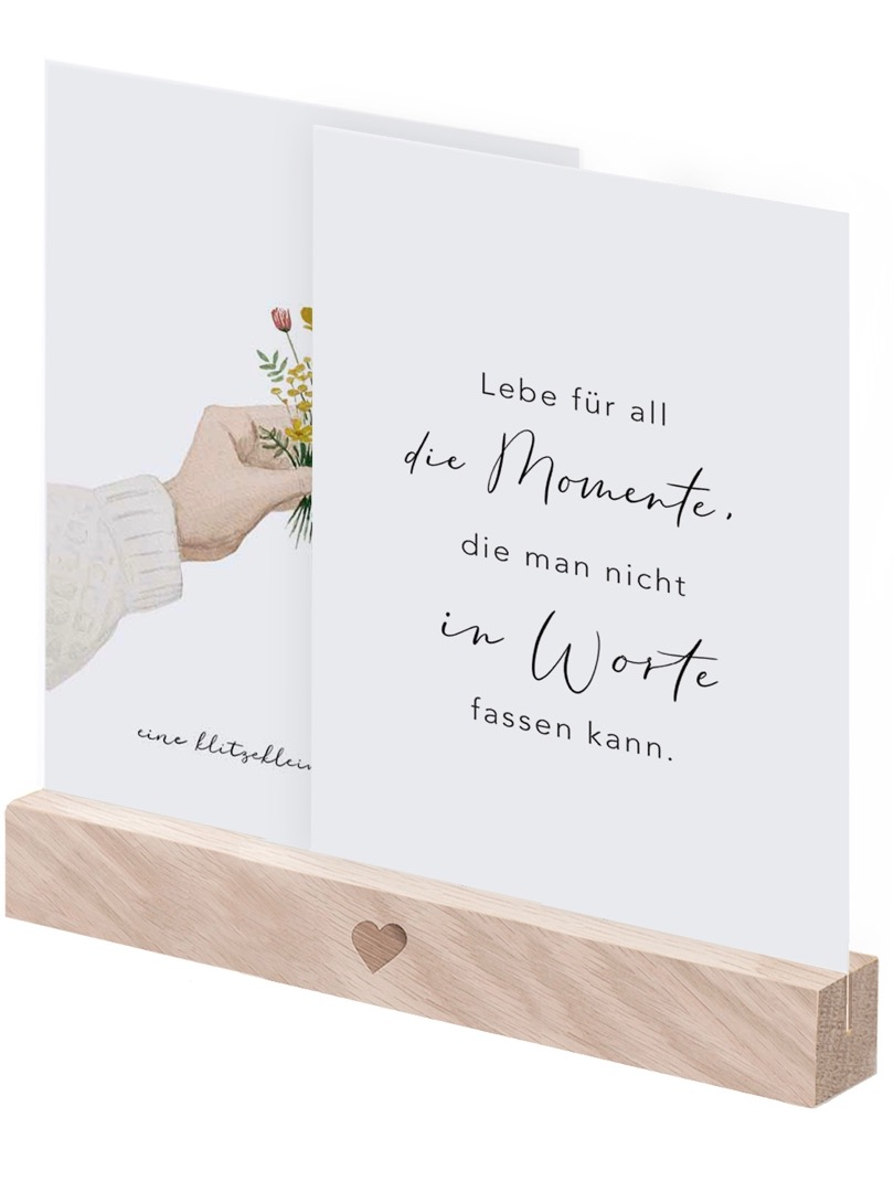 Postkartenständer 15 cm - natur mit