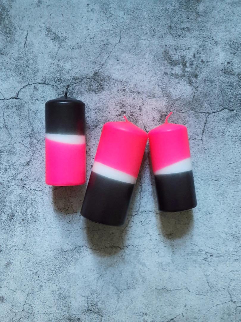 UNIQUE ARTS Stumpen Kerze groß Pink/Anthrazit