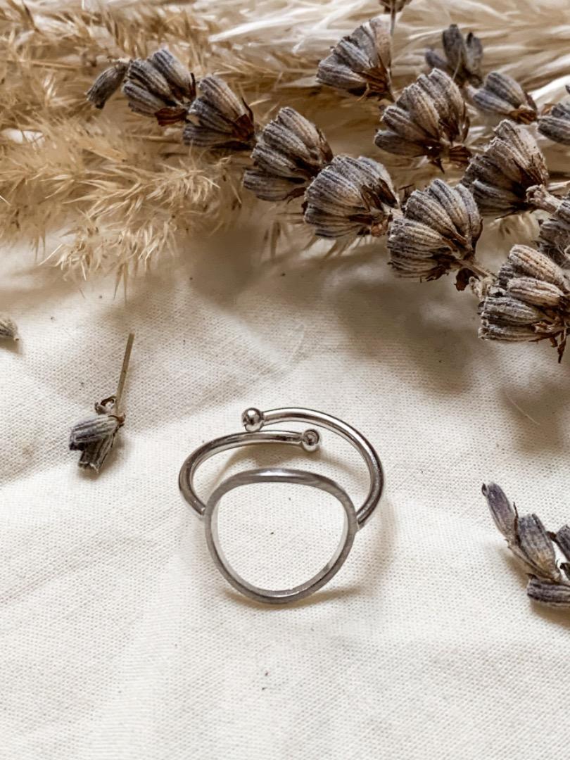 Ring silber Kreis - rhodiniertes Messing