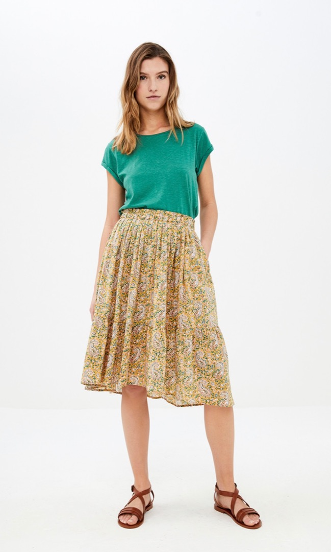 lien paisley skirt - straw 2