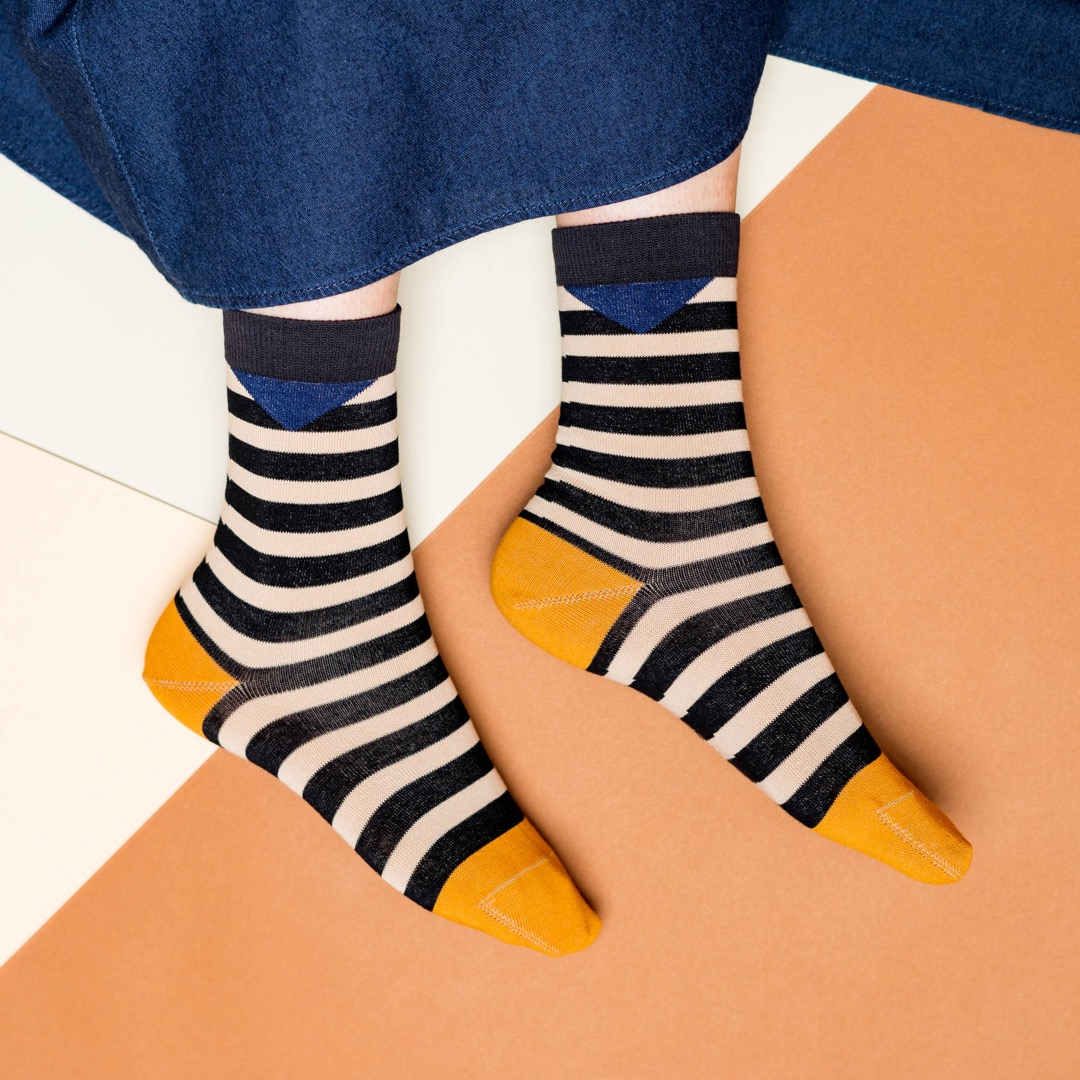 nice socks - block stripes sand - 1
