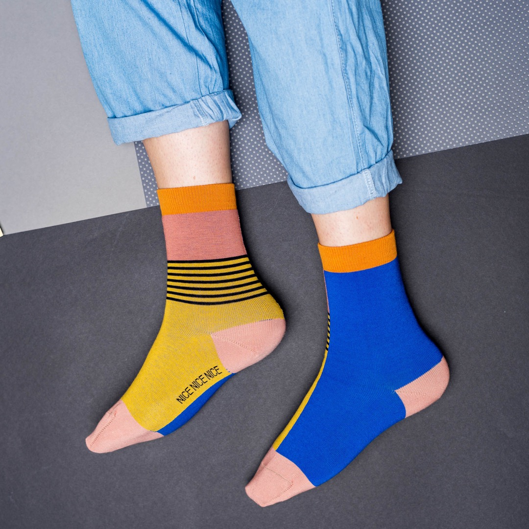nice socks - halb/halb yellow - 4