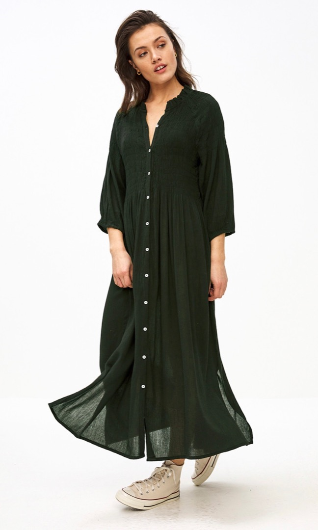 loulou smocked dress - forest night