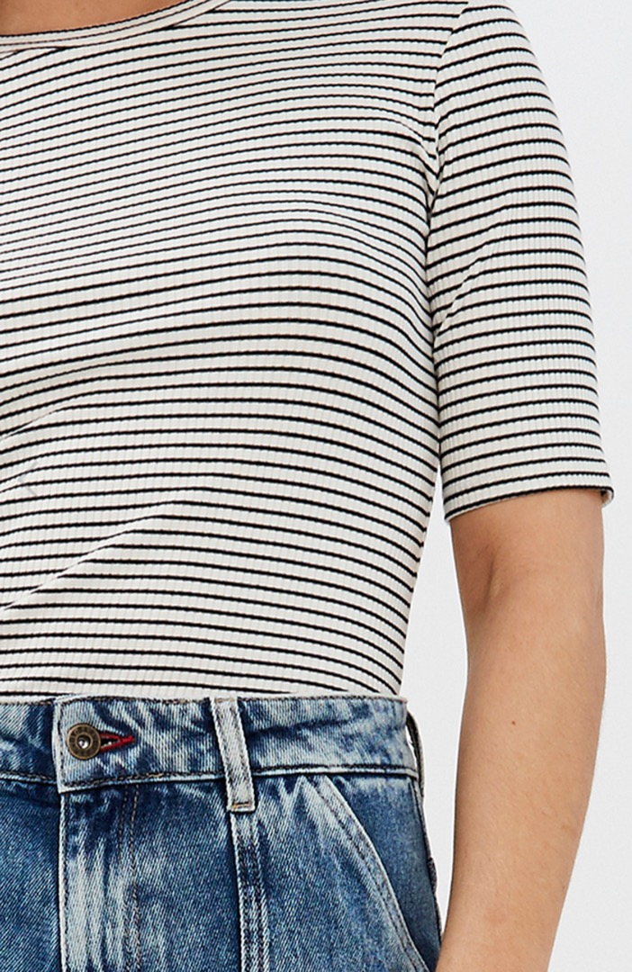 maya striped rib - black-off white