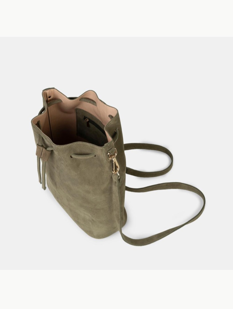 Saku Suede Olive Bucket Bag - 2