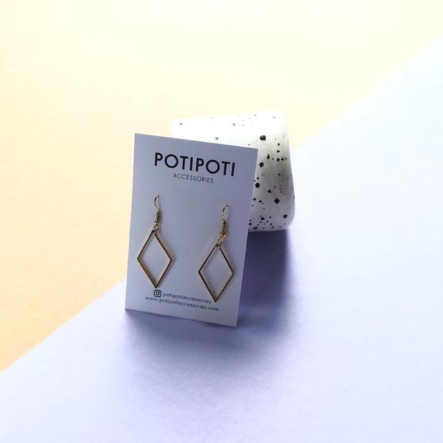 POTIPOTI - Ohrringe Raute vergoldet