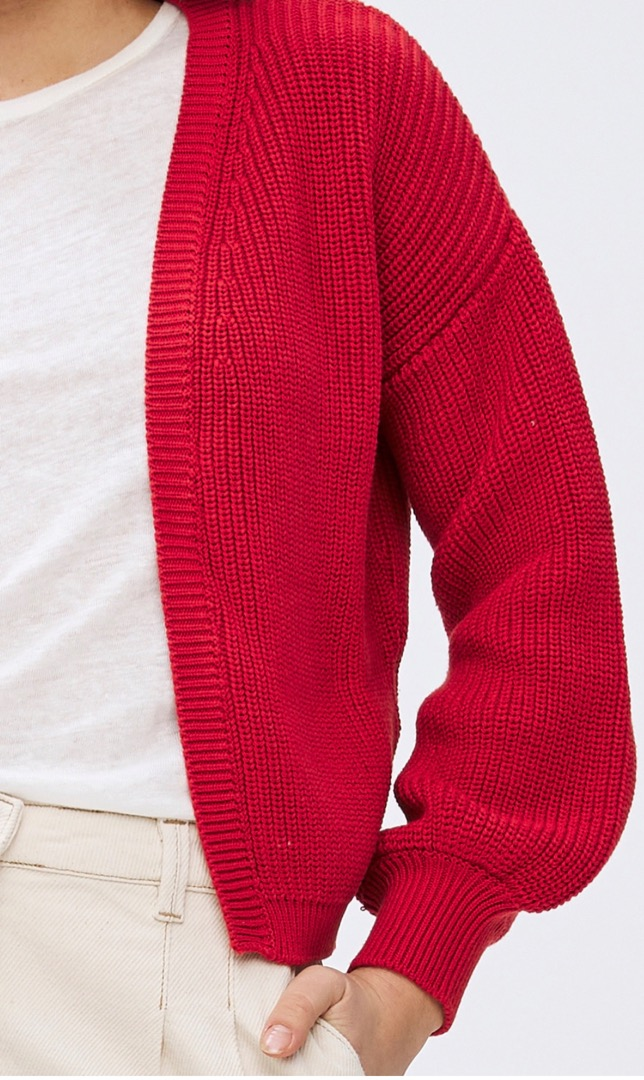 bar cotton cardigan - red 4