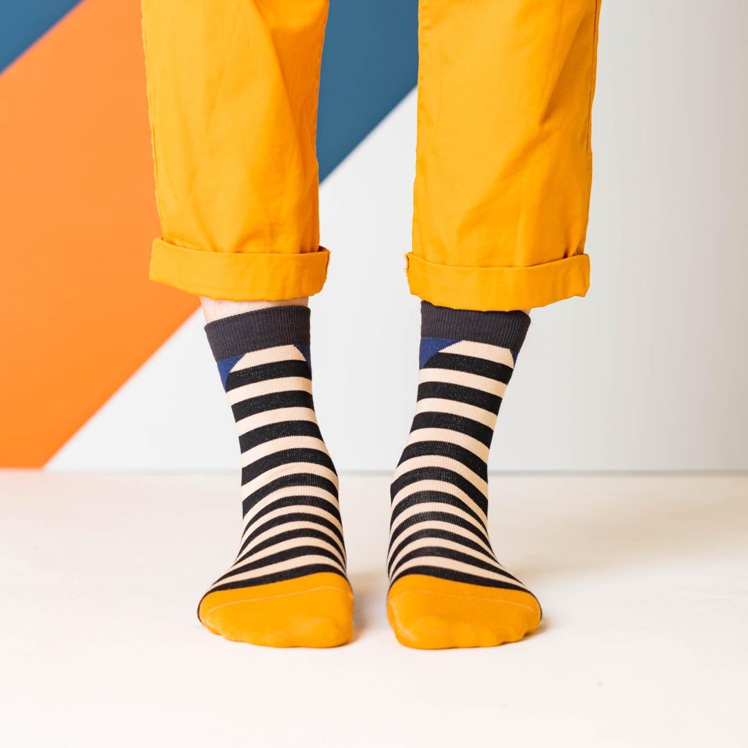 nice socks - block stripes sand - 2