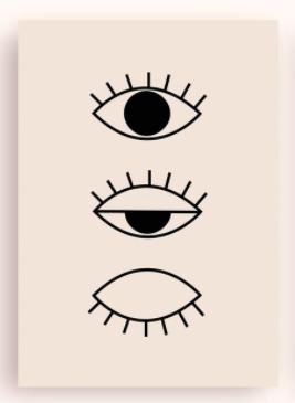 Postkarte - Evil eye cremé