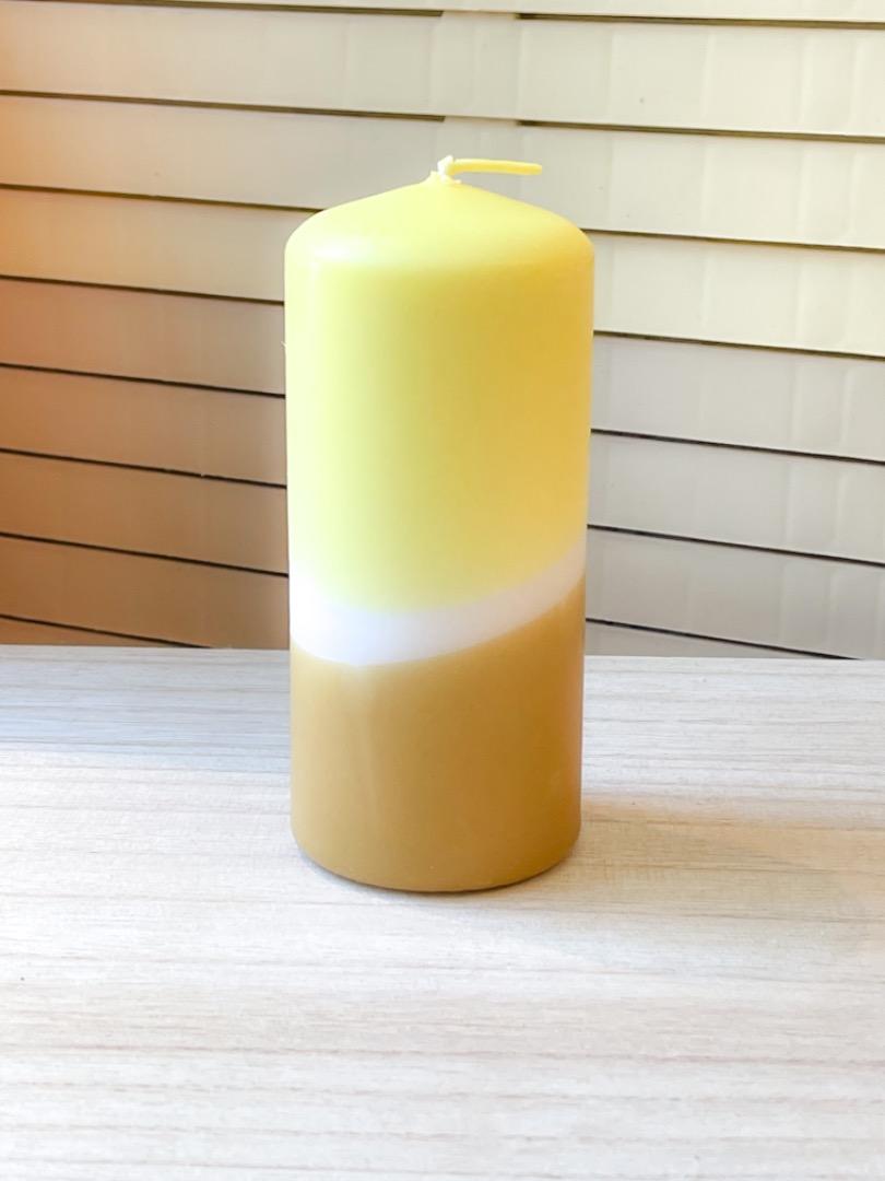 UNIQUE ARTS Stumpen Kerze klein Gelb/Curry
