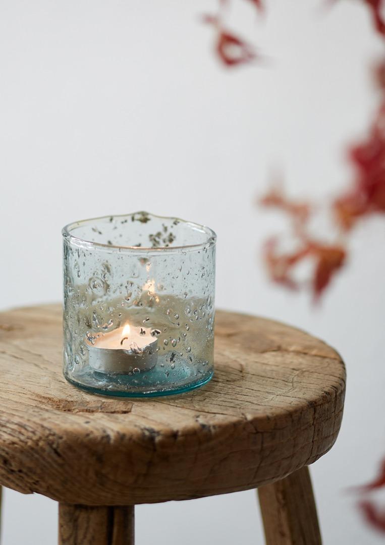 Teelicht recycletes Glas 8 cm 3