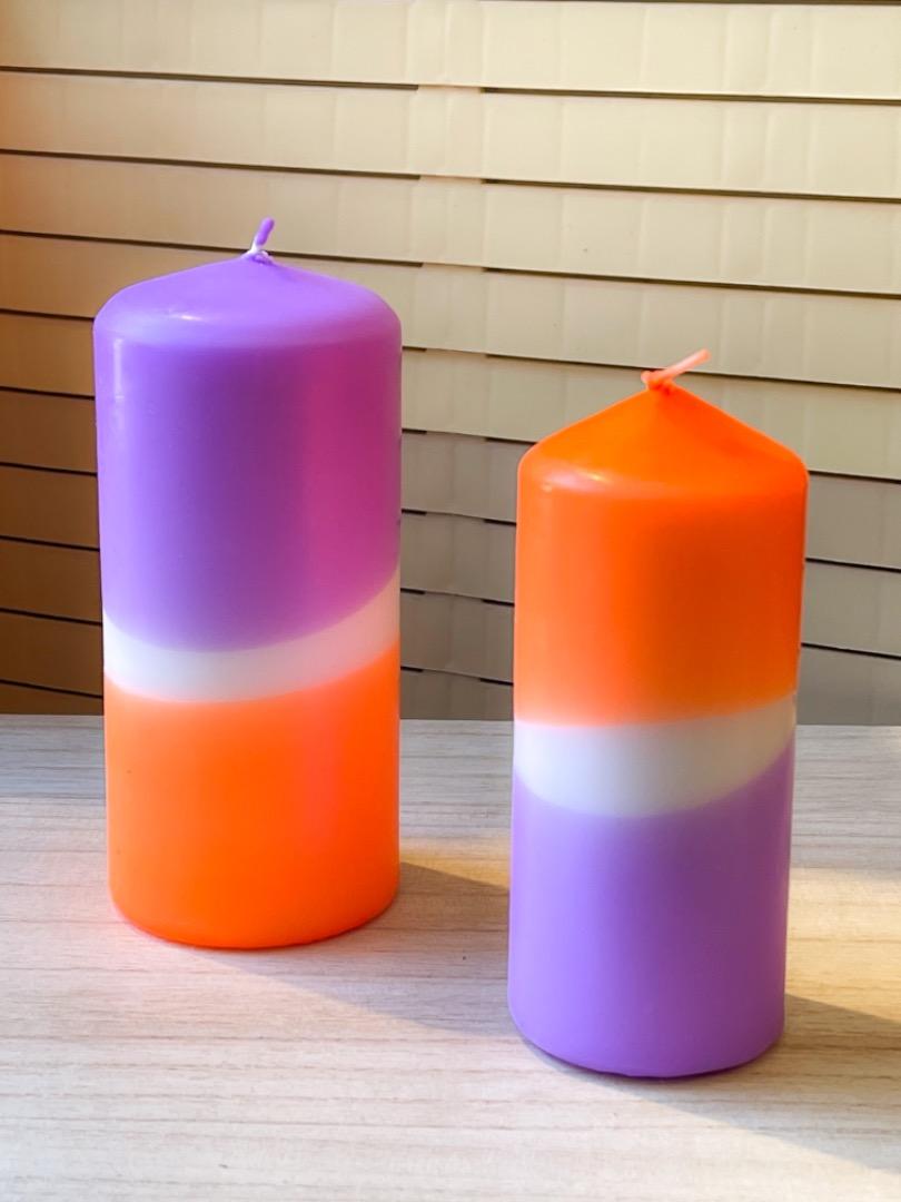 UNIQUE ARTS Stumpen Kerze klein Orange/Lila