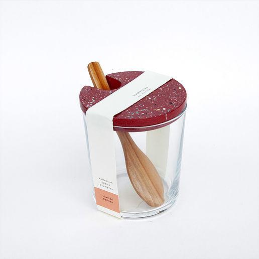 Zuckerglas mit Tarrazzo Deckel - rot