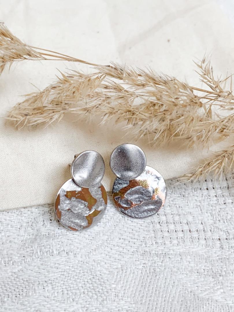 Ohrring Stecker Silber/ Kupfer vintage Plättchen