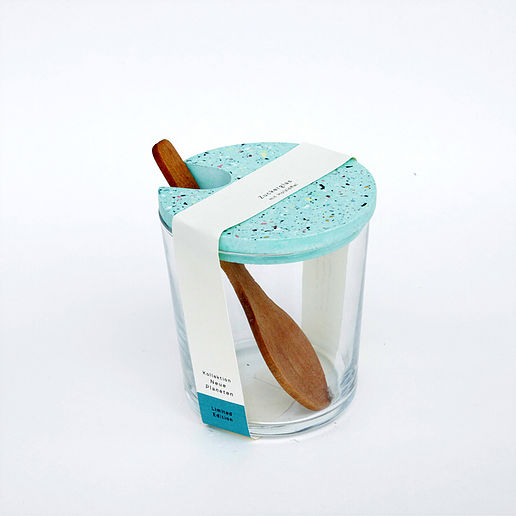 Zuckerglas mit Tarrazzo Deckel - türkis
