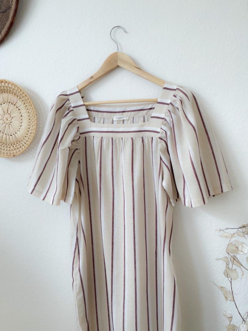 BEAUMONT ORGANIC - LESLEY-SUE-CREA-PLUM DRESS 2