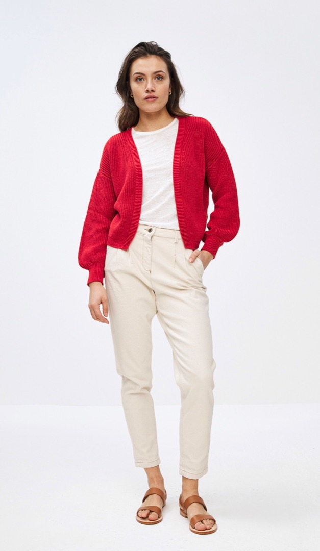 bar cotton cardigan - red 3